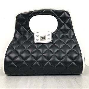 Be & D Quilted Leather Flap Studded Detail Bag